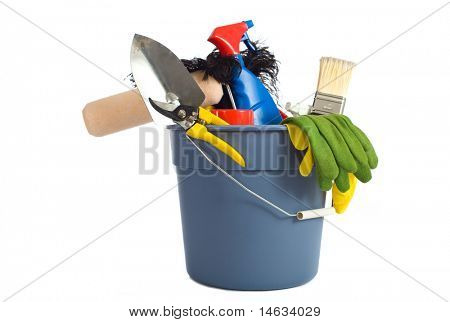 a variety of cleaning supplies and chemicals on a white background, including spray bottles, gloves, sponges, rags, and a bucket
