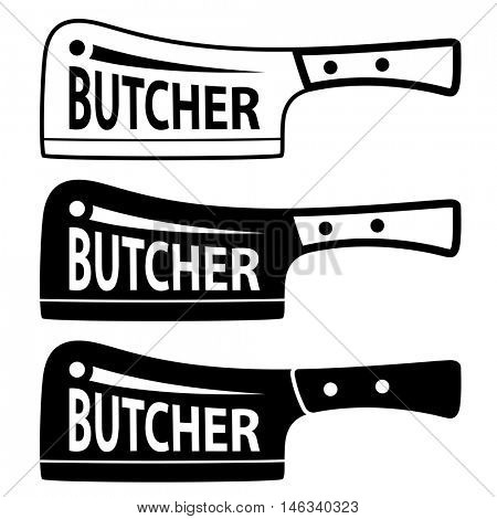 butcher meat cleaver chopper symbol vector