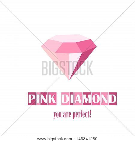 Perfect pink diamond Stock vector abstract pink  of a jewelry company logo photographs or seller Briliant illyustatsiya vector white background inscription
