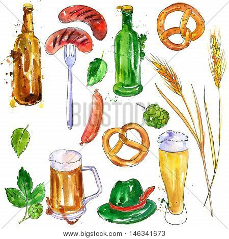 watercolor oktoberfest set, mugs and glasses of beer, hop plant, snacks, sausages and pretzels, hand drawn illustration