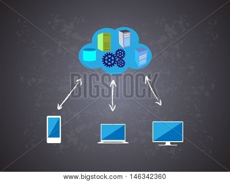 Concept of Cloud computing network in chalk drawing on a blackboard, vector illustration