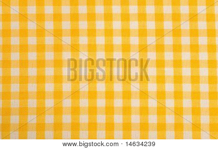 Yellow Gingham or checked tablecloth background