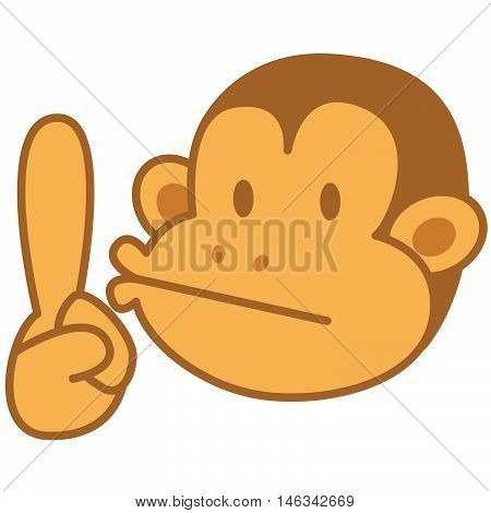 Face monkey of vector art illustration stock collection