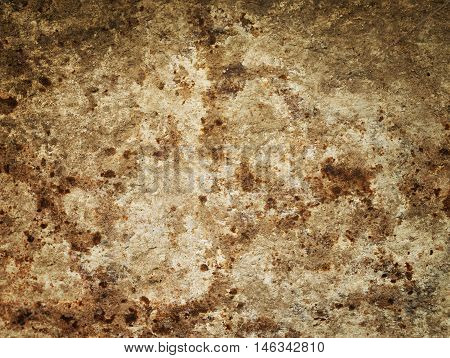 Brown granite texture. Natural rough untreated and unpolished stone wall with grain surface, abstract background