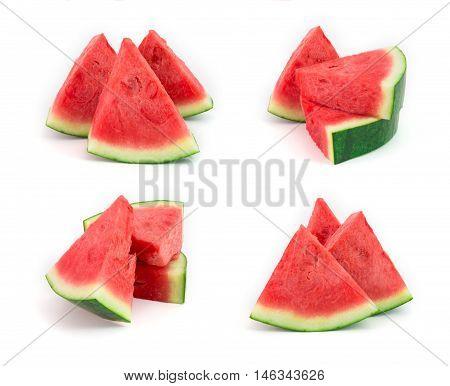 fresh seedless watermelon isolated on white set