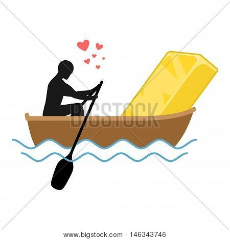 Lover Gold. Man And Golden Bullion And Ride In Boat. Lovers Of Sailing. Man Rolls Wealth Of Gondola.