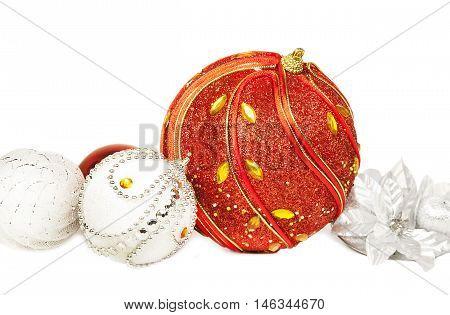 New Year 2017 composition with red and white glitter balls isolated on white