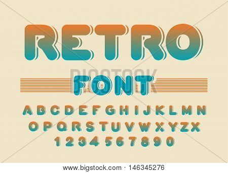 Retro Font. Vintage Rounded Alphabet. Disco Alphabet. Letters From 80S. Hipster Lettring. Old Typogr