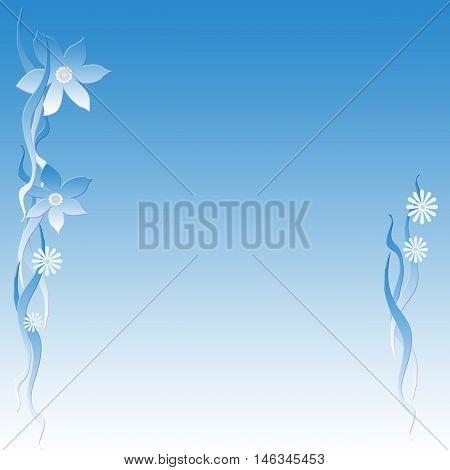 flower  and vines scattered on blue background  illustration