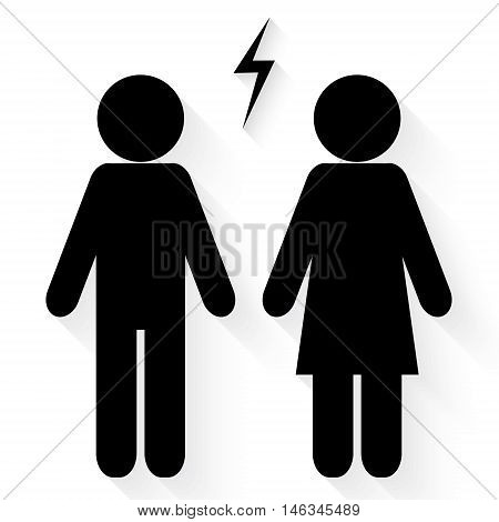 Couple conflict icon vector on white background
