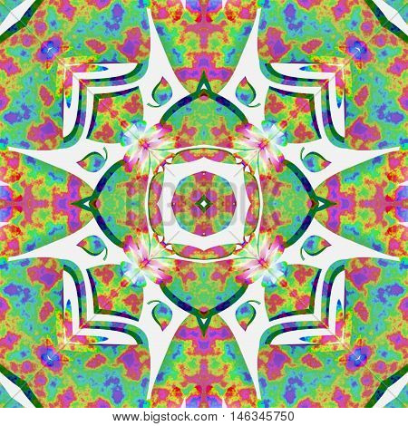 Kaleidoscopic pattern. Hippies style. Vintage background, tile or texture.