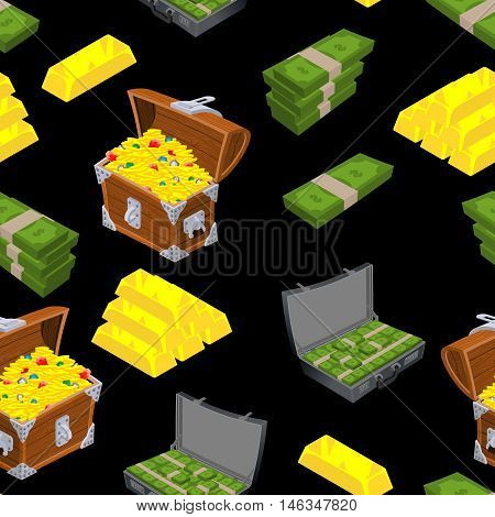 Riches Seamless Pattern. Chest With Gold Ornament. Gold Bullion Background. Case With Money. Bundles