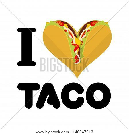 I Love Taco. Heart Symbol Of Mexican Food. Tortilla Chips And Onion. Tomato And Fresh Meat. Logo For