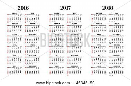 Calendar for 2016 2017 2018 years on white background vector
