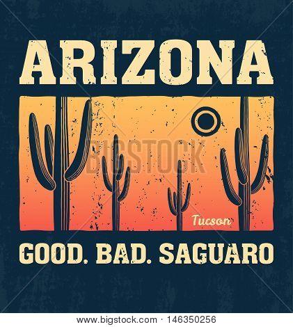 Arizona t-shirt design print typography label with saguaro cactus. Vector illustration.