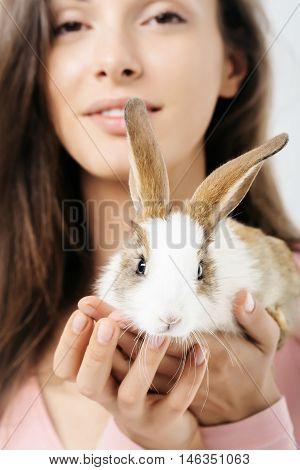 Pretty Woman With Rabbit