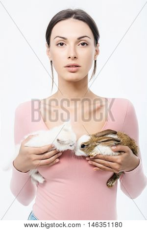Pretty Woman With Kitten And Rabbit Isolated