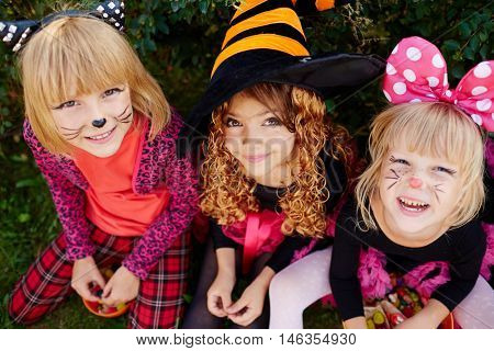 Trick-or-treat girls