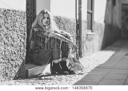 Pretty Blond Woman, Model Of Fashion, In Urban Background
