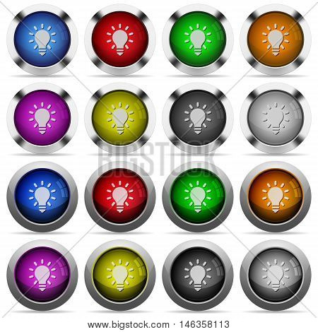 Set of lighting bulb glossy web buttons. Arranged layer structure.