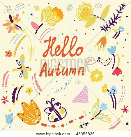 Autumn funny card with floral design and birds - doodle vector graphic illustration