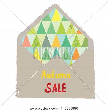 Autumn sale envelope - decorative idea vector graphic illustration