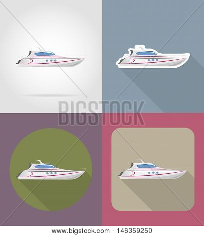 yaht flat icons vector illustration isolated on background