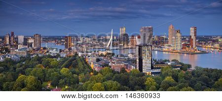 Rotterdam. Panoramic image of Rotterdam, Netherlands during twilight blue hour.