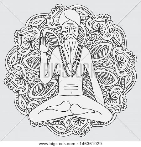 yoga meditating sadhu, logo asia hinduism monk, india religious guru man character, mandala