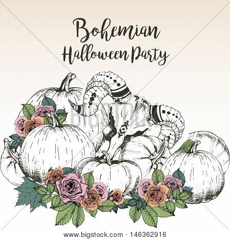 Vector poster for bohemian Halloween party. Goat skull with pumpkins and rose wreaths isolated on grunge background. Decorated with lettering.