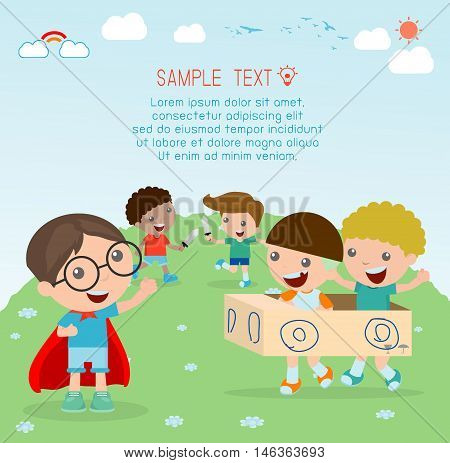 happy cartoon kids, Kids playing , kid playing and lifestyle, happy child, vector illustration, kids at playground, kids time.isolated on white background, Vector Illustration.