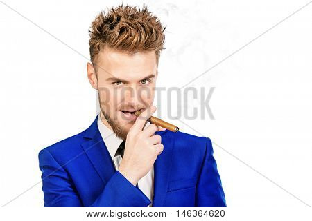 Funny stylish man smoking a cigar. Men's beauty, fashion. Isolated over white.