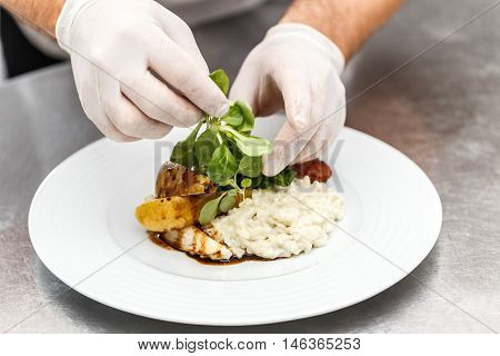 Roasted goose breast with cheese risotto, fine dining