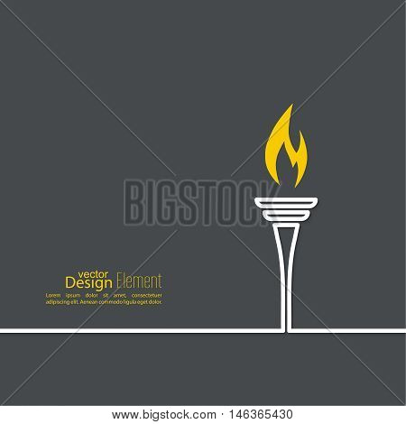 Vector icon of  torch with a flame. Black background with bright torch. layout for booklet, flyer, cover, preview, announcement, report.