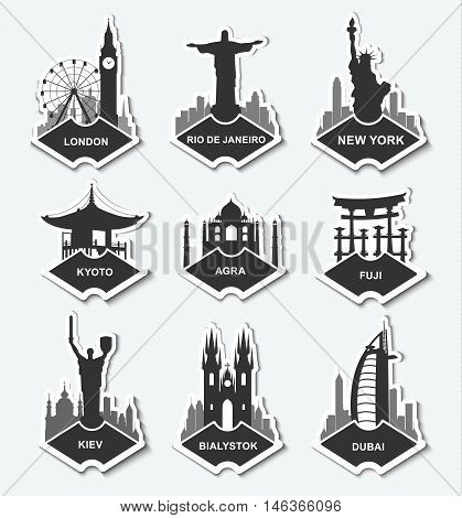 A set of stickers with the monuments and buildings of different cities. Template tags New York Kiev Logdon Rio Dubai Warsaw Fuji Kyoto Agria. Vector illustration