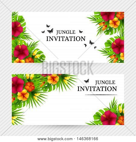Summer tropical hawaiian background with jungle palm tree leaves exotic flowers and butterflies. Horizontal vector invitation banners with floral decorations and copy space