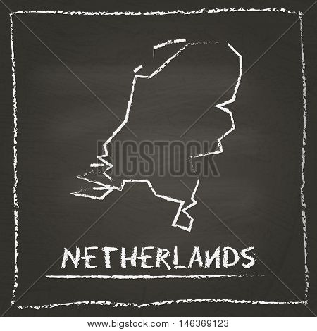 Netherlands Outline Vector Map Hand Drawn With Chalk On A Blackboard. Chalkboard Scribble In Childis