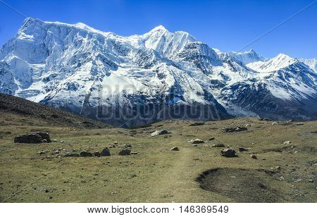 View Of North Face Of Annapurna Ii And Annapurna Iv From Kicho Valley