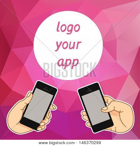 Illustration smartphone for banner, presentation, website. Presentation template of mobile screen. Cloud tools for business. Cloud technology and service for social networking, media - stock vector