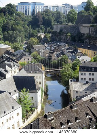 Luxembourg city, view of the Grund district