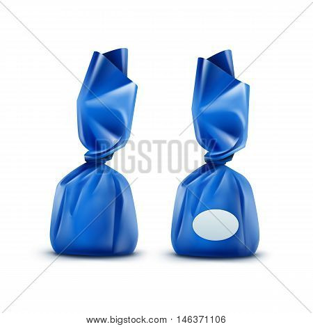Vector Realistic Chocolate Candy in Blue Glossy Wrapper Close up Isolated on White Background