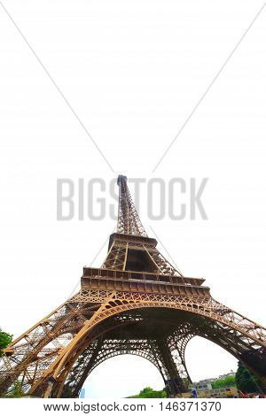 Isolated on white Eiffel Tower in Paris France