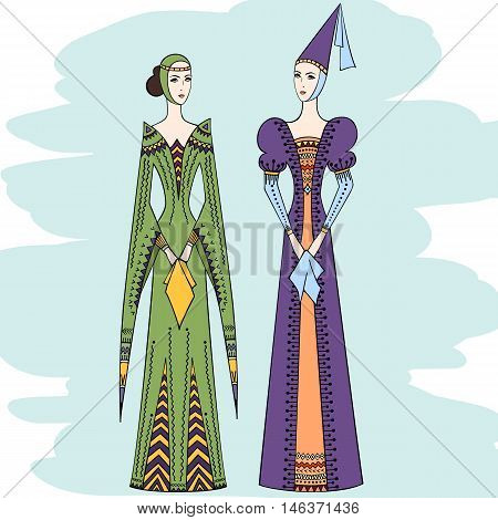 Silhouette of two young girls in medieval dress. Vector women in costume of Middle Ages. Ladies in vintage clothes.