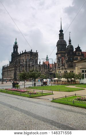 View from Theaterplatz on Catholic Hofkirche also known as Cathedral of Holy Trinity in Dresden