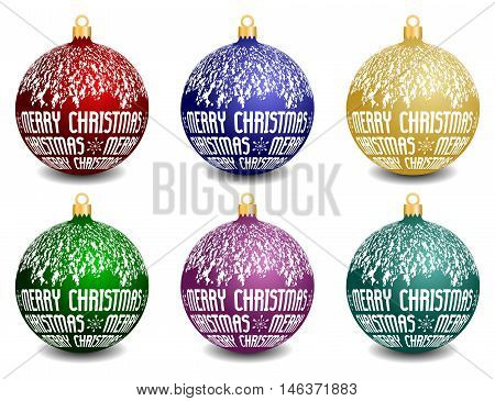 vector set of six christmas balls with text Merry Christmas, isolated collection of snowy christmas balls with different colors and shadow
