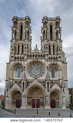 Laon Cathedral is one of the most important examples of the Gothic architecture of the 12th and 13th centuries located in Laon Picardy France. Facade