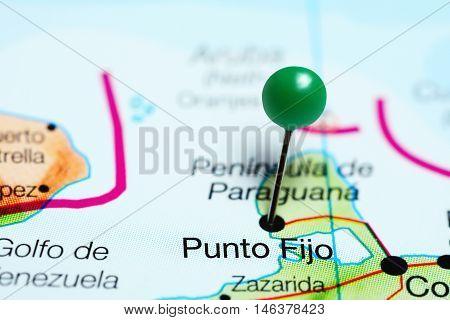 Punto Fijo pinned on a map of Venezuela