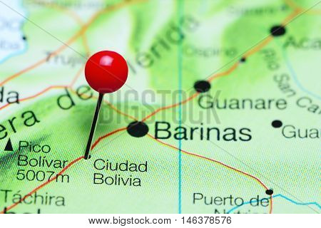 Ciudad Bolivia pinned on a map of Venezuela
