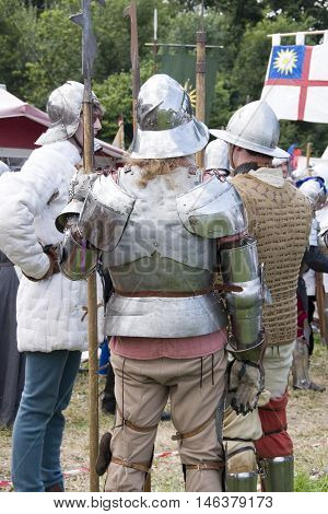 Tewkesbury, UK-July 17, 2015: Historical Reenactors' Authetic Living History Camp on 17 July 2015 at Tewkesbury Medieval Festival