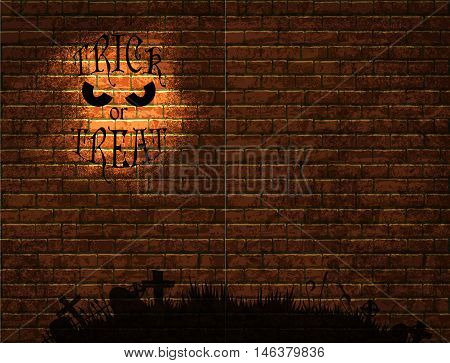 Halloween background with old brick wall and a silhouette of cemetery
